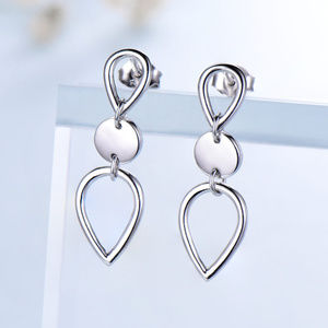 Silver Earrings For Women Silver Water Drop Long